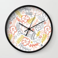 Floral Brush Wall Clock