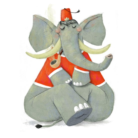 Elephant with Fez Smoking a Pipe Art Print