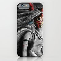 iPhone Cases featuring Miyazaki's Mononoke Hime Digital Painting the Wolf Princess Warrior Color Variation by Barrett Biggers
