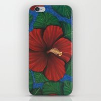 Tropical Hibiscus in Red island art painting iPhone & iPod Skin
