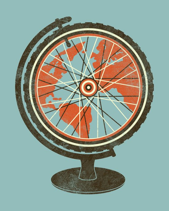 Cycling Around The World Art Print