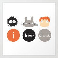 I Love Miyazaki Art Print