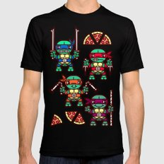Teenage Mutant Ninja Turtles Pizza Party Mens Fitted Tee Black SMALL