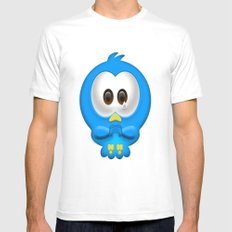 Sad Birdie White Mens Fitted Tee SMALL