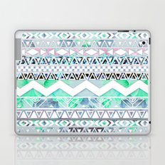 Teal Girly Floral White Abstract Aztec Pattern Laptop & iPad Skin