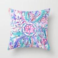 Boho Flower Burst In Pin… Throw Pillow