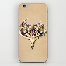 Deer Skull and Flowers on Buckskin Background iPhone & iPod Skin