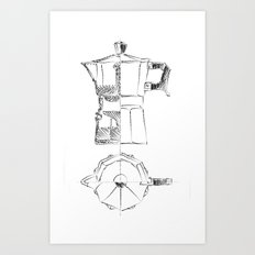 Coffee pot blueprint sketch  Art Print