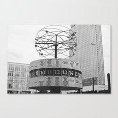 World clock Black and White Canvas Print