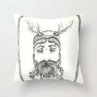 Forest man Throw Pillow