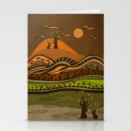 psychedelic mountains Stationery Card