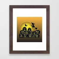 Pumpkins And Witch In Fr… Framed Art Print