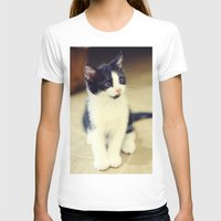 Cat Womens Fitted Tee White SMALL