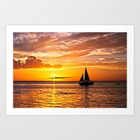 Sail Into The Sunset  Art Print