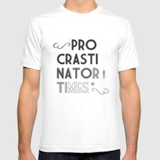 The Procrastinator (some) Times SMALL White Mens Fitted Tee