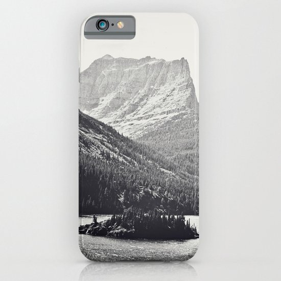 Glacier Mountain Lake Black and White iPhone & iPod Case