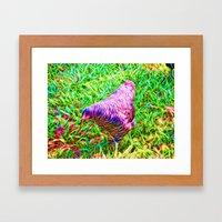 Hen On Grass Framed Art Print