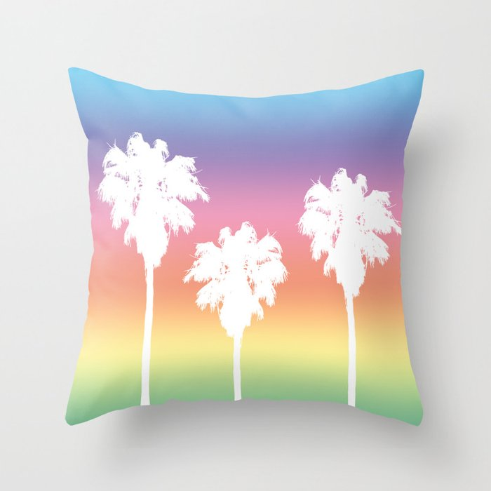 rainbow palm tree trees sunset throw pillow home decor