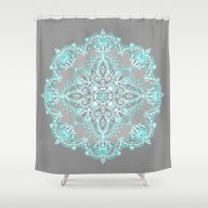 Teal And Aqua Lace Manda… Shower Curtain