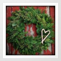 Country Christmas Wreath Art Print