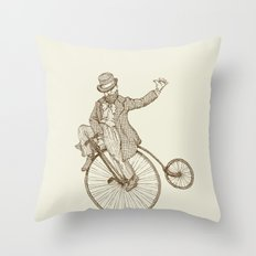 Flatland Penny Farthing Throw Pillow