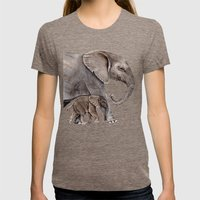 Elephants Womens Fitted Tee Tri-Coffee SMALL