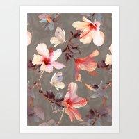 Coral Hibiscus Art Print