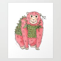 Peachtree The Chimp in Red Art Print