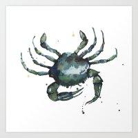 Crab, Nautical Art, Seas… Art Print