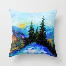 Mountain Blues Painting Throw Pillow