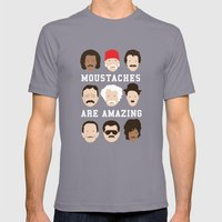Moustaches Are Amazing Mens Fitted Tee Slate SMALL