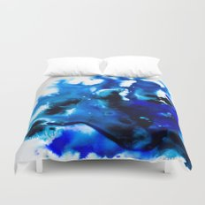 Paint 8 abstract indigo watercolor painting minimal modern canvas art affordable home decor trendy Duvet Cover