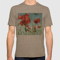 Poppy Field Mens Fitted Tee Tri-Coffee SMALL