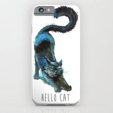 Black Blue Cat Stretching Drawing  iPhone 6 Slim Case