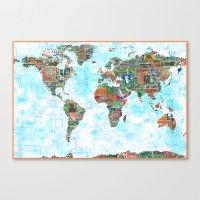 World Stamp Map Canvas Print