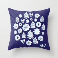 Blue christmas decoration Throw Pillow