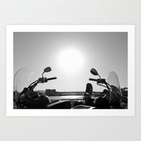 Motorcycles Stand By Art Print