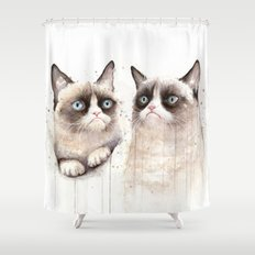 Grumpy Watercolor Cats Shower Curtain
