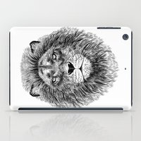Black+White Lion iPad Case