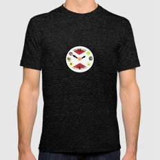 Food Clock Mens Fitted Tee Tri-Black SMALL