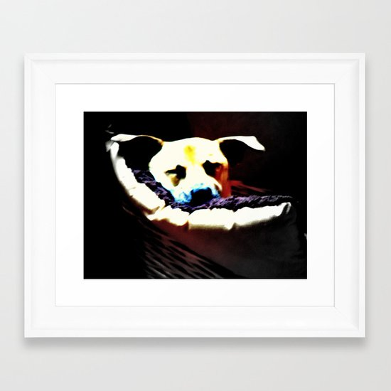 sleeping puppy stuck in basket Framed Art Print