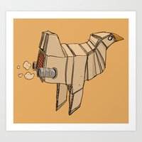 Art Print featuring Space Chicken by Les Gordon