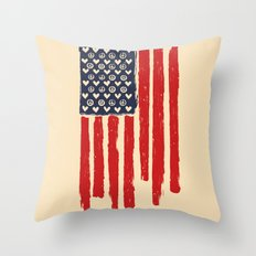 Red and Blue and White Throw Pillow