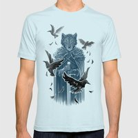 Wolf And Ravens Mens Fitted Tee Light Blue SMALL