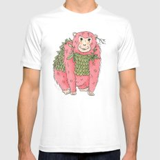 Peachtree The Chimp in Red SMALL White Mens Fitted Tee
