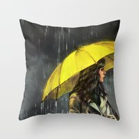 All Upon the Downtown Train Throw Pillow
