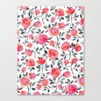 Roses on White - a watercolor floral pattern Canvas Print