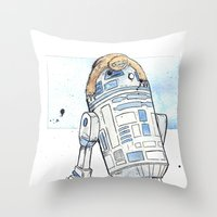 R2 And His Baby Sloth Throw Pillow