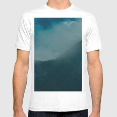 North Cascades Fog SMALL White Mens Fitted Tee