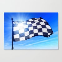Checkered flag waving on the wind Canvas Print